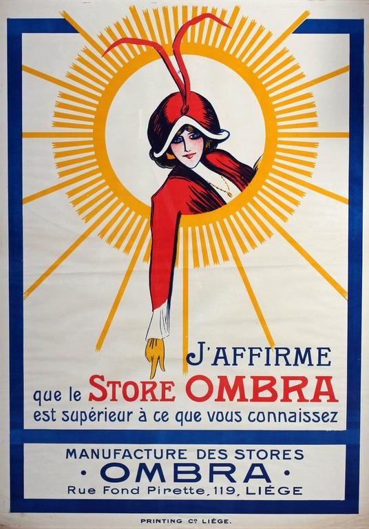 A 1910's original Belgian advertising poster for 'Store Ombra', Liege.