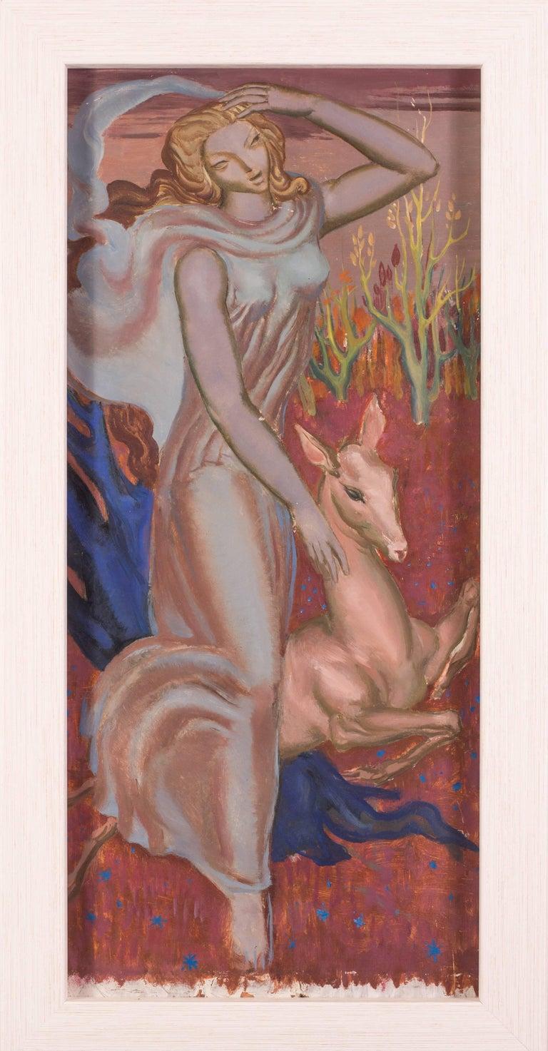 Femme a la biche - Brown Figurative Painting by Paul Mantes
