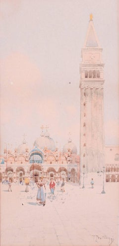Original late 19th Century watercolour of the Basilica San Marco, Venice