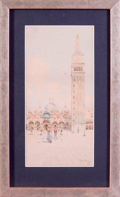 Original late 19th Century watercolour of the Basilica San Marco, Venice, Italy
