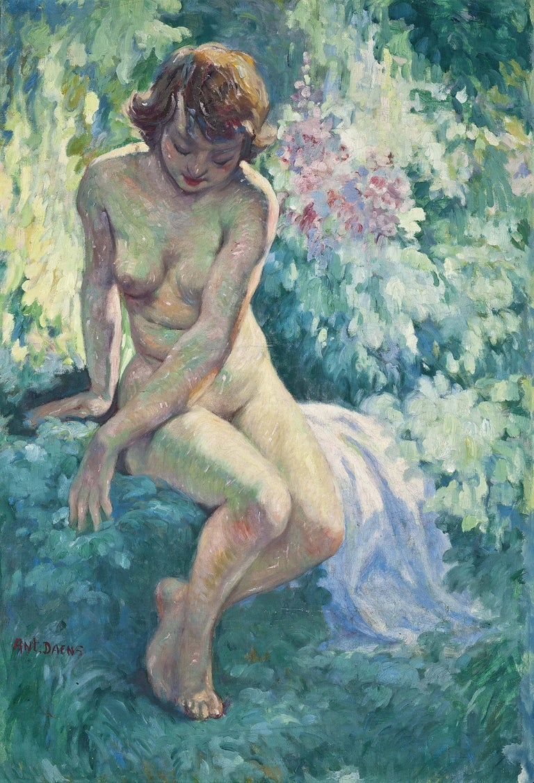 Antoine Daens (French) La Belle de l'ete (nude) Signed 'Ant.Daens' (lower left) Oil on canvas 42 x 35.1/4 in (including frame)  Here we can see Daens' attraction to the impressionist style. A light and vibrant image of a forest nymph after bathing.