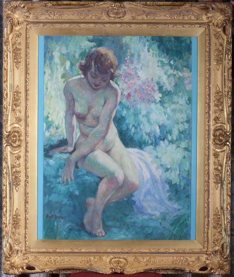 La Belle de l'ete, a beautiful early 20th Century Impressionist nude in a garden For Sale 1