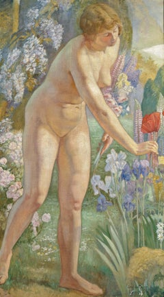 Very large, Impressionist early 20th Century nude, oil painting, Picking Poppies