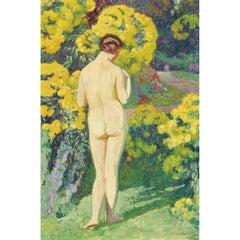 Jeune Femme Nue Au Jardin, a bright, impressionist oil painting of a nude
