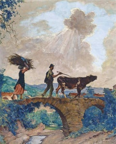 Peasants Crossing A Bridge, Liguria, Italy, a figurative impressionist painting