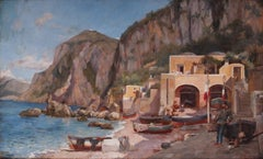 The Beach at Capri, Italy, a wonderful late 19th Century oil painting of Capri