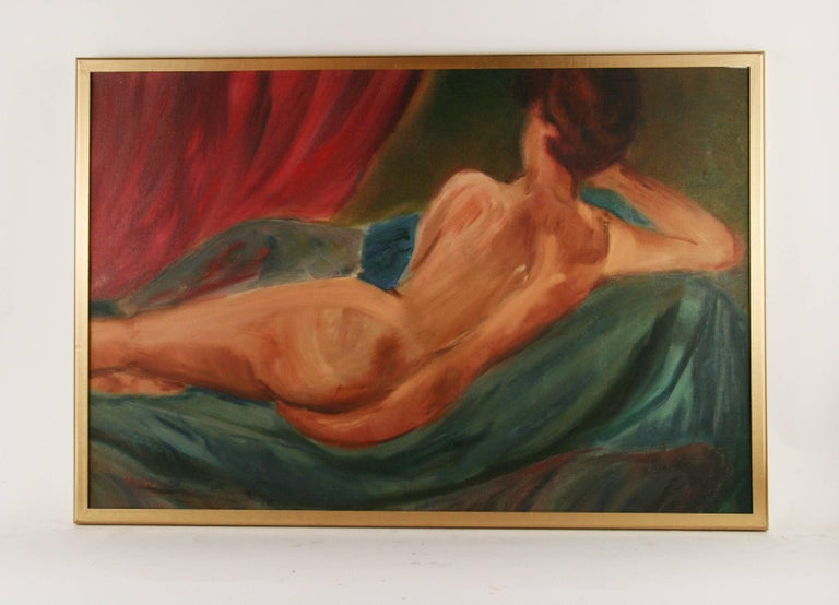 Unknown Figurative Painting -  Reclining Nude by Mirra