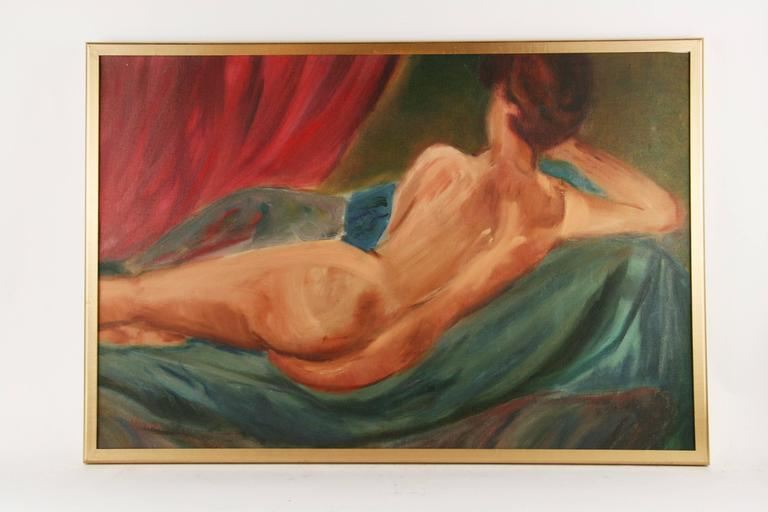 Reclining Nude by Mirra - Beige Figurative Painting by Unknown
