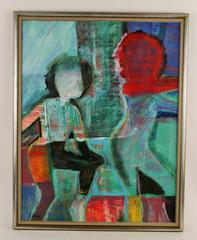Abstract Figural Gouache by Sarno