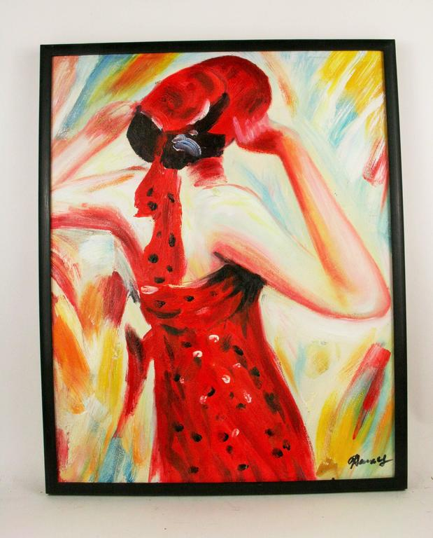 Unknown Portrait Painting - Fashionable Red Fashion Painting