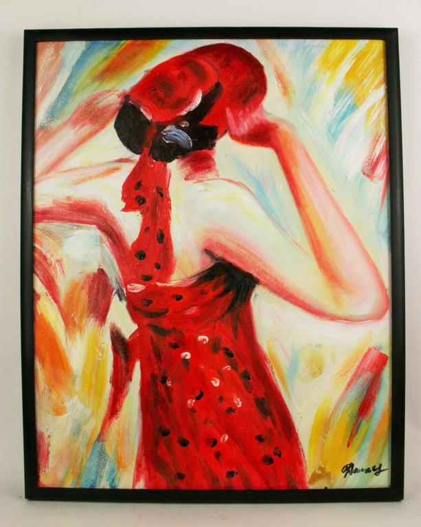 Fashionable Red Fashion Painting  - Beige Portrait Painting by Unknown