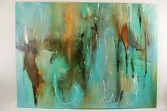 Oversized Aquamarine Abstract by R.Zanni