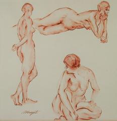 Three Nude  Poses by Margot