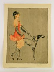 Flapper Walking Her Dog