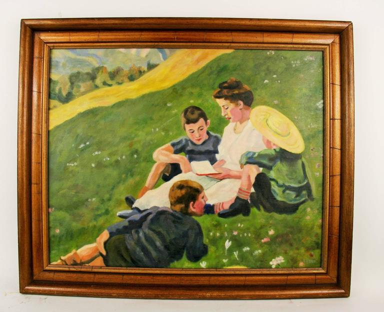 Unknown Figurative Painting - Day at the Park