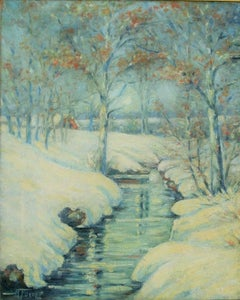 Hudson Valley Snow Landscape Painting by Forte