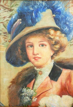 Blue Feather Victorian Portrait Painting