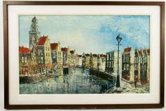 Dutch Canal Scene Painintg