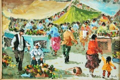 Impressionist  Paris Sunday Outdoor Market  Landscape Figurative Painting