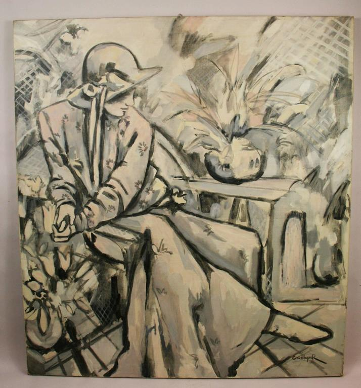 The Lady in White Oversized Figurative  Painting 2