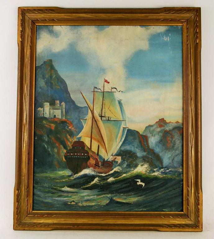 Unknown Landscape Painting -  Gallion Painting Seascape