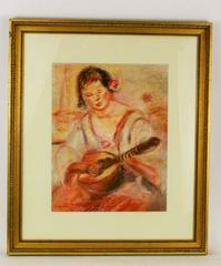 Woman with Mandolin Pastel