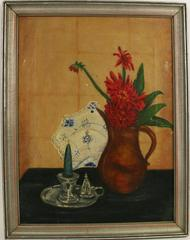 Candle Flowers Stillife  Painting