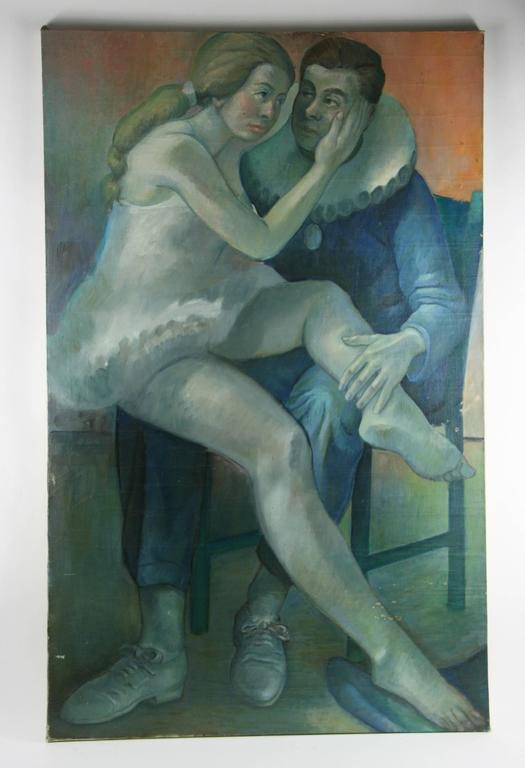Unknown Figurative Painting - Impressionist  Figurative  Performers Blue  Painting
