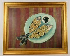 SALE STORE WIDE Fish Dinner  Still Life Interior Painting