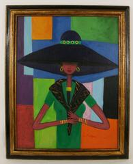Lady with Black Hat Painting