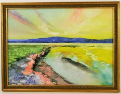 Abstract Yellow Marsh Landscape  Painting