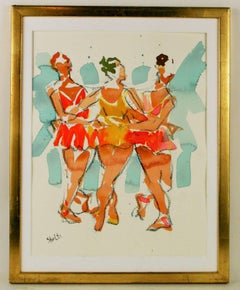 Three Dancers Watercolor