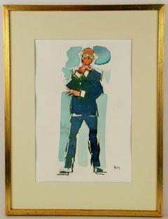 Blue Man Watercolor