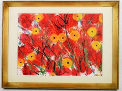 Yellow Abstract  Poppies  Field