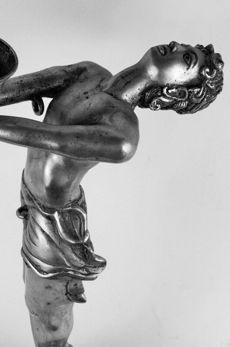 Silvered Brass Deco Sculpture - Gray Figurative Sculpture by Unknown