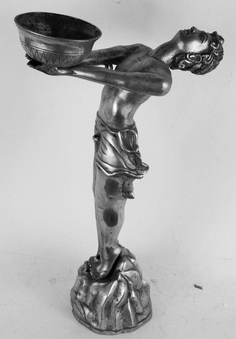 Unknown Figurative Sculpture - Silvered Brass Deco Sculpture