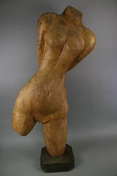 Oversized Carved Wood Figurative Nude Sculpture