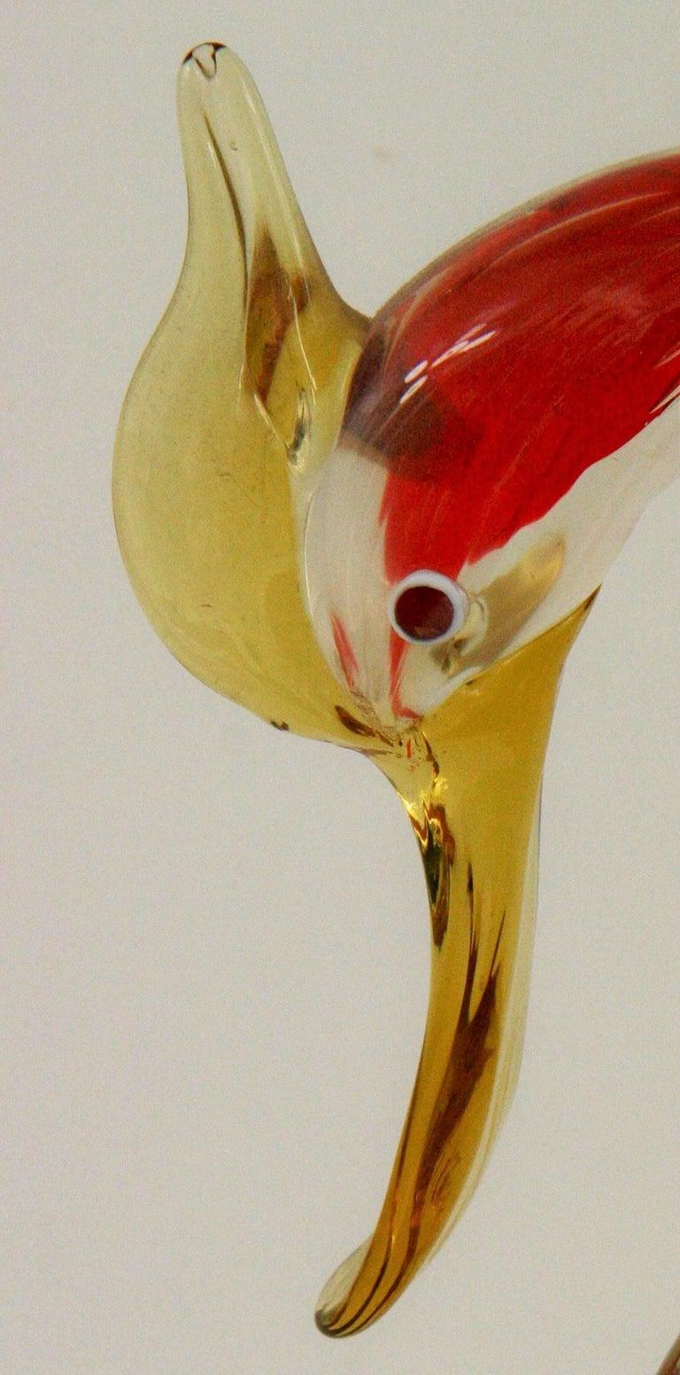 Murano Multi Colored Bird Sculpture For Sale 1