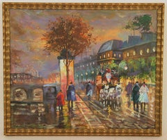 Impressionist Paris by Night Cityscape  Painting