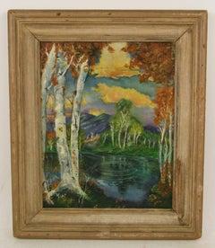 Impressionist Birch Tree Landscape
