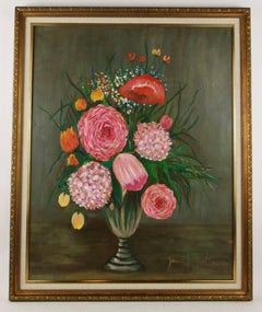 Impressionist Over sized Pink Lush Floral  Still Life Table scape