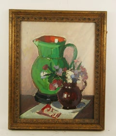Green Pitcher Still Life Gouache