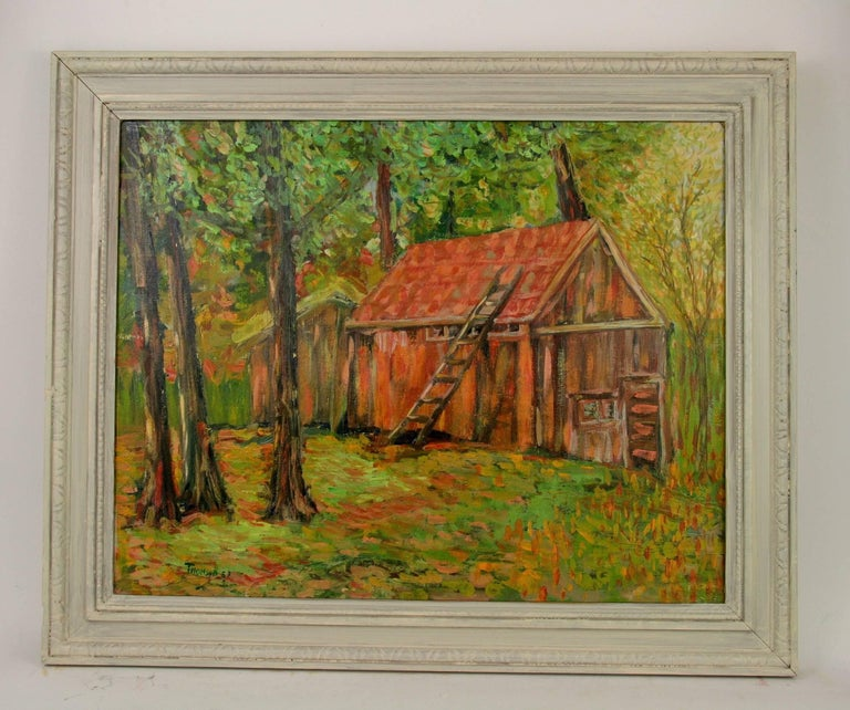 Unknown Red Barn St Jerome Painting For Sale At 1stdibs