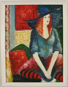 Girl With Blue Hat Figurative Painting