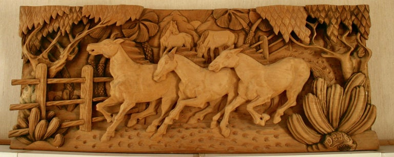 Unknown Still-Life Sculpture - Large Scale Western Wood Sculpture