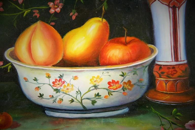 #5-2558 A fruit and flowers still life painting,oil on canvas displayed in a black-gilt trim wood frame.Signed lower left by Bounduelle