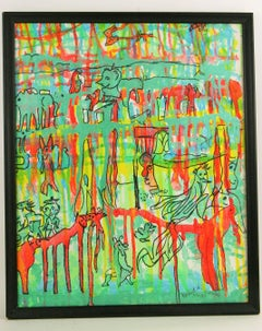 Abstract Animals Landscape on the Savana Painting by Langin
