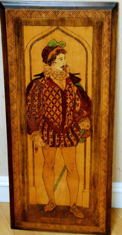 Unknown Figurative Painting - Renaissance Man Carved Plaque
