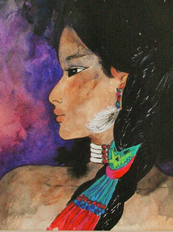 Native American Girl Portrait  - Painting by Unknown