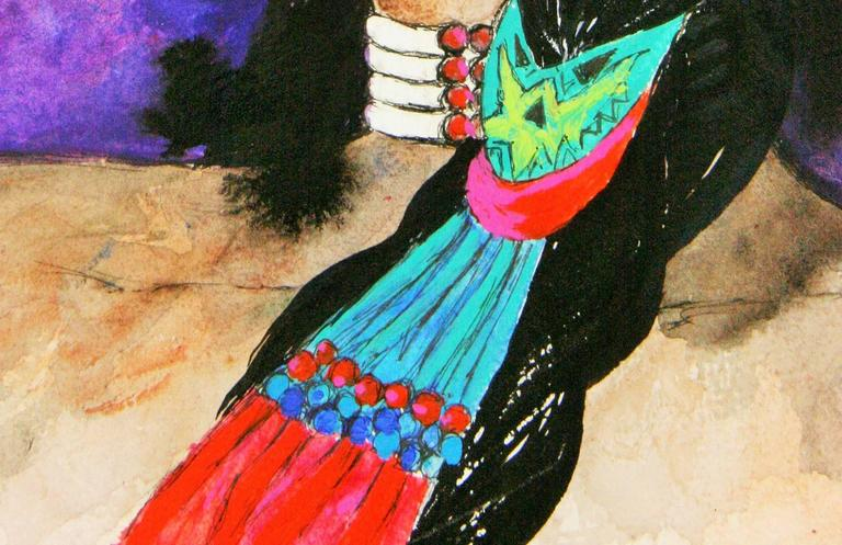 Native American Girl Portrait  - Black Portrait Painting by Unknown